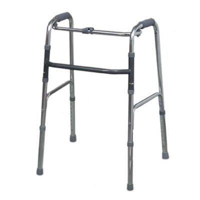 Briggs Healthcare Single Release Aluminum Folding Walker in Silver