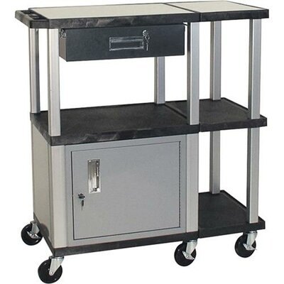 H. Wilson Company Tuffy Extra Wide Presentation Station with Nickel Cabinet and Legs