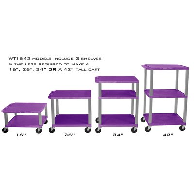 "H. Wilson Company Tuffy 16"" - 42"" Height Adjustable Open Shelf AV Cart"