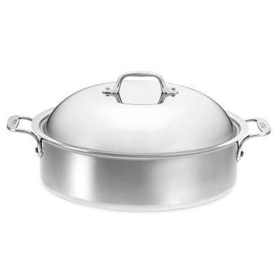 Stainless Steel 6-qt. Round French Braiser with Lid and Rack
