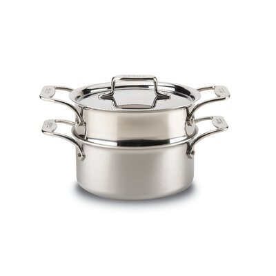 d5 Brushed Stainless Steel 3 Quart Casserole with Steamer