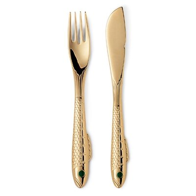 Gense Nobel Gold 2 Piece Fish Cutlery Box Set