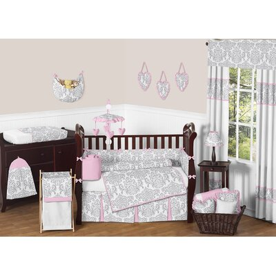 Pink and Gray Elizabeth Crib Bedding Collection
