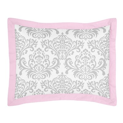Pink and Gray Elizabeth Cotton Standard Pillow Sham