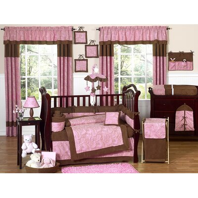 Sweet Jojo Designs Pink and Brown Paisley Crib Bedding Collection