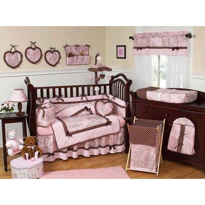 Pink and brown french toile and polka dot crib bedding kits jpg