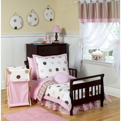 Sweet Jojo Designs Pink and Chocolate Mod Dots Toddler Bedding Collection 5 Piece Set