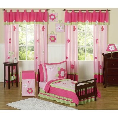 Sweet Jojo Designs Flower Pink Green Toddler Bedding Collection 5 Piece Set