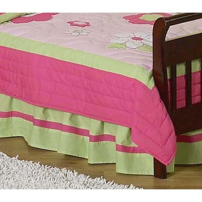 Flower Pink and Green Collection Toddler Bed Skirt