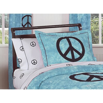 Sweet Jojo Designs Peace Blue Collection Standard Pillow Sham