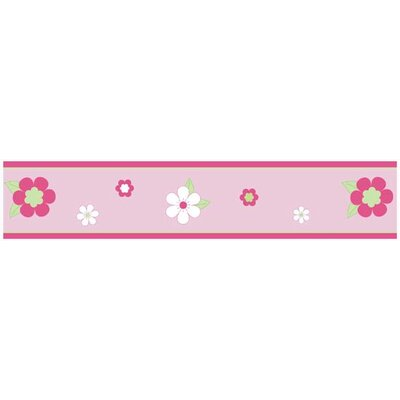 Sweet Jojo Designs Flower Pink and Green Collection Wall Paper Border