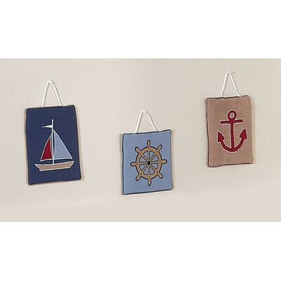 Sweet Jojo Designs Nautical Nights Collection Wall Hangings 3 Piece Set