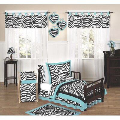 Sweet Jojo Designs Zebra Turquoise Collection 5pc Toddler Bedding Set