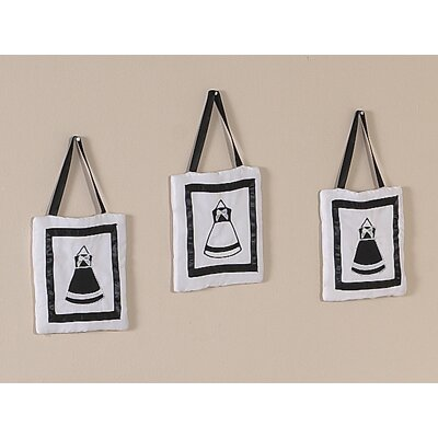 Sweet Jojo Designs Princess Black and White Collection Wall Hangings (Set of 3)