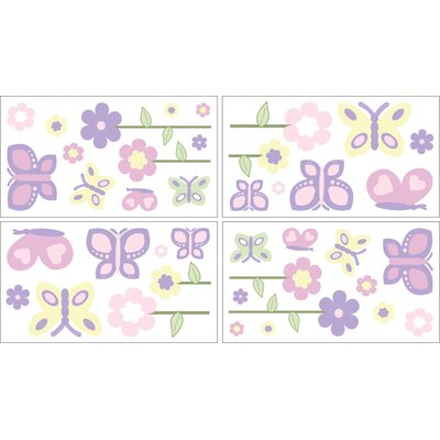 Sweet Jojo Designs Butterfly Pink and Purple Collection Wall Decal Stickers