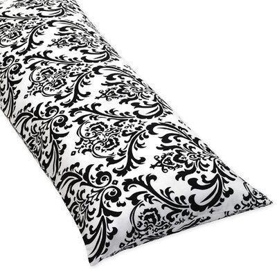 Sweet Jojo Designs Isabella Black and White Collection Body Pillow Case  - Damask Print