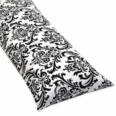 Sweet Jojo Designs Isabella Hot Pink, Black and White Collection Body Pillow Case  - Damask Print