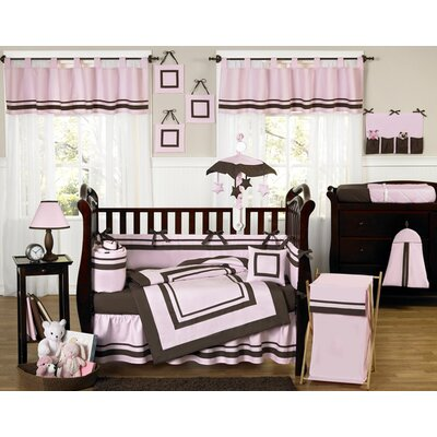 Jojo designs pink and chocolate hotel baby crib bedding collection