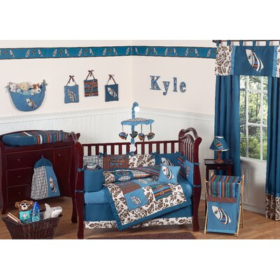 Sweet Jojo Designs Surf Blue and Brown Crib Bedding Collection