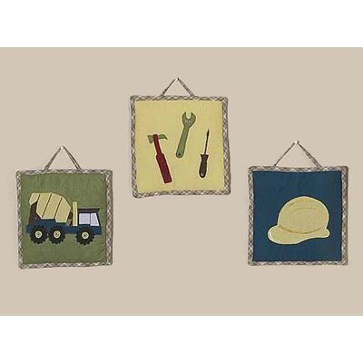 Sweet Jojo Designs Construction Collection Wall Hangings 3 Piece Set