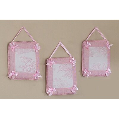 Sweet Jojo Designs Pink Toile Collection Wall Hangings (Set of 3)