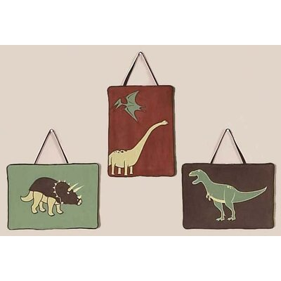Sweet Jojo Designs Dinosaur Land Collection Wall Hangings 3 Piece Set