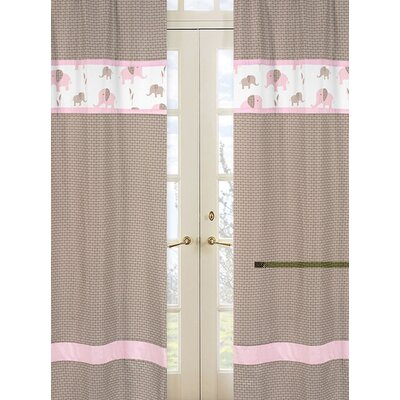 Sweet Jojo Designs Elephant Pink Rod Pocket Curtain Panel  (Set of 2)