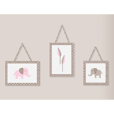 Sweet Jojo Designs Elephant Pink Collection Wall Hangings 3 Piece Set