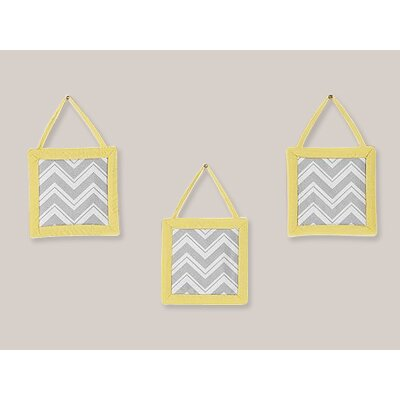 Zig Zag Yellow and Gray Collection Wall Hangings (Set of 3)