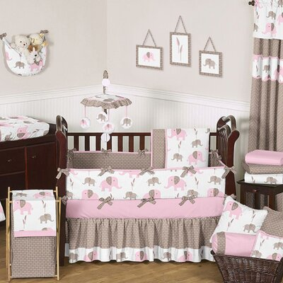 Elephant Pink Mod Crib Bedding Collection