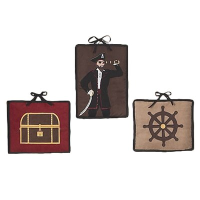Sweet Jojo Designs Pirate Treasure Cove Collection Wall Hangings 3 Piece Set