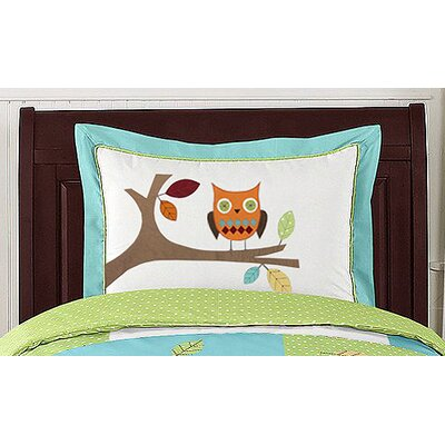 Hooty Turquoise and Lime Collection Standard Pillow Sham