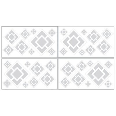 Diamond Gray and White Collection Wall Decal Stickers (Set of 4)
