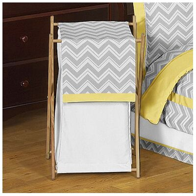 Zig Zag Yellow and Gray Laundry Hamper