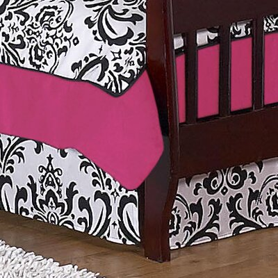 Isabella Hot Pink, Black and White Toddler Bed Skirt
