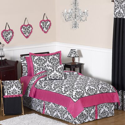 Isabella Hot Pink, Black and White 4 Piece Twin Bedding Set