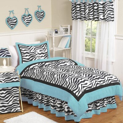 Zebra Turquoise Collection Twin Bedding Set