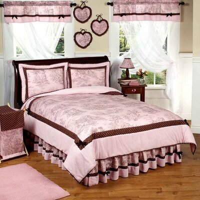 Sweet Jojo Designs Pink and Brown Toile Kid Bedding Collection