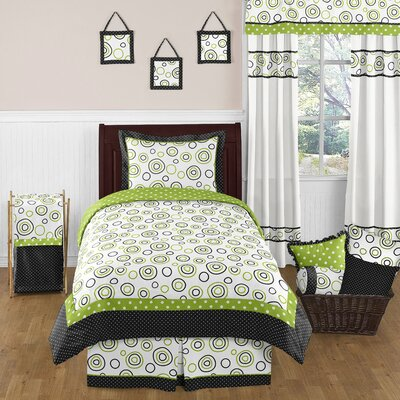 Lime and Black Spirodot 4 Piece Twin Bedding Collection
