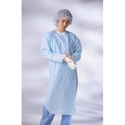 Medline Standard Thumb Loop CPE Gown in Blue (Case of 75)