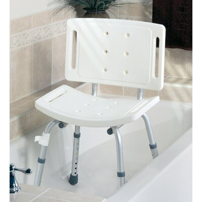 Medline Unassembled Shower Chair in White with Back