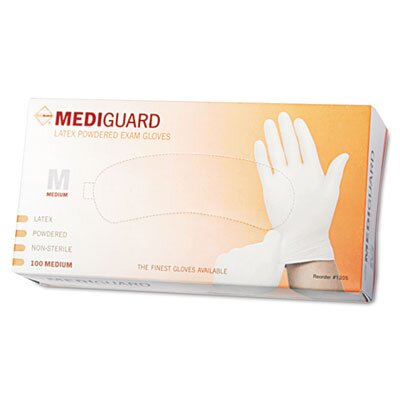 Medline Mediguard Powdered Latex Exam Gloves, Medium, 100/Box