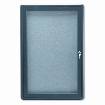 Quartet® Enclosed Fabric Covered Cork Bulletin Board, 24 x 36, Gray, Aluminum Frame