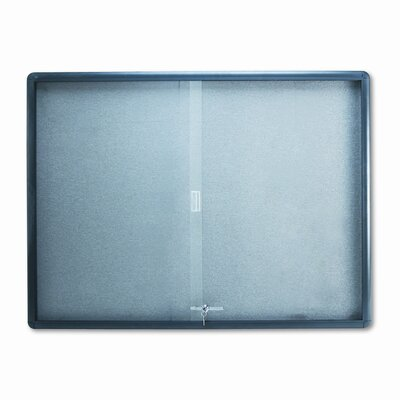 Quartet® Enclosed Bulletin Board, Fabric/Cork/Glass, 48 x 36, Gray, Aluminum Frame