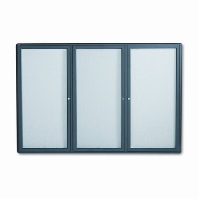Quartet® Enclosed Bulletin Board, Fabric Covered Cork, 72 x 48, Gray, Aluminum Frame