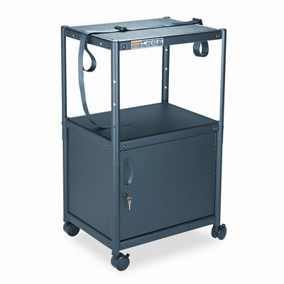 Quartet® 5-in-1 Adjustable-Height AV Cart with Cabinet, 24 x 18 x 26 to 42, Gray