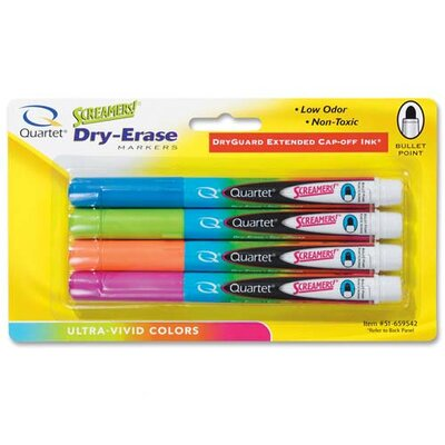 Quartet® Dry-Erase Marker, Bullet Tip, Low-odor, 4 per Pack,Neon Assorted