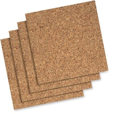 "Quartet® Cork Panels, Self-stick, 12""x12"", 4 per Pack, Natural"