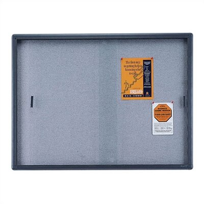 Quartet® Enclosed Bulletin Board, Fabric/Cork/Glass
