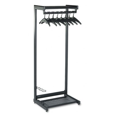 Quartet® Single-Side Garment Rack with Two Shelves in Black
